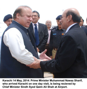 Karachi 14 May, 2014 Prime Minister Muhammad Nawaz Sharif, who arrived Karachi on one day visit, is being recieved by Chief Minister Sindh Syed Qaim Ali Shah at Airport,